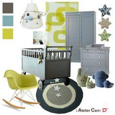 Mes étoiles en Liberty sur le blog de l'Atelier Carré dans la feuille de style consacrée à la décoration d'une chambre de bébé. Très joli choix !