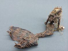 ooak dead skeleton mermaid  fantasy princess queen fairy miniature doll art goth dollhouse sideshow gaff Hoax joke