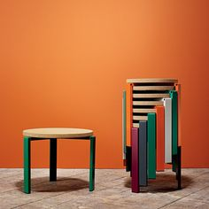 Wrong For Hay 'Stanley' Stool Various colours. Stackable. Extra seating. Cork/ MDF seat + powder coated frame