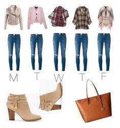 """One jeans Five Outfit"" by alexa-falori on Polyvore featuring Frame Denim, Sans Souci, BCBGMAXAZRIA, Bobeau, Barbour, White House Black Market and MICHAEL Michael Kors"