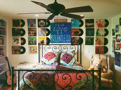 my bedroom was covered in art and old vinyl records, now it's just a bunch of blank white walls
