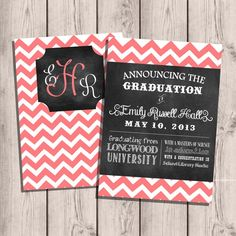 Custom Chevron & Chalkboard Double-Sided College Graduation Invitation/Announcement 5x7. In red of course