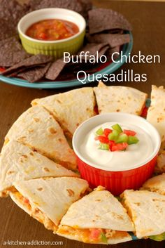 Buffalo Chicken Quesdillas from www.a-kitchen-addiction.com #partyfood