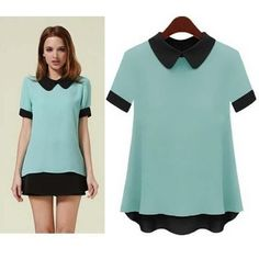 hot saleShort-sleeve Doll Collar Design Pullover Cute Lady Chiffon Shirts Large Size M-3XL Elegant Charm Women Loose Blouse