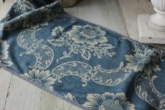 French Antique Indigo Resist pattern early 20th c valance ruffle section