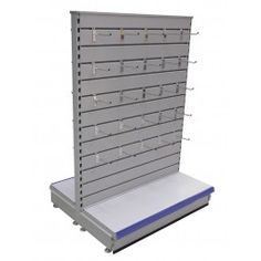 Shop Shelving/ Slatwall Gondola Shelving/Retail Shop Shelving /supermarket shelving  Freestanding gondola unit with metal Slatwall Panels. Choice of slatwall hooks to suit this shelving system available from stock.