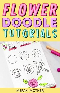Embellish the pages of your bullet journal with these stunning flower doodles! #doodles #howtodraw #bulletjournal Simple Flowers, Amazing Flowers, Flower Drawing Tutorials, Bullet Journal Printables, Flower Doodles, Easy Drawings, Hand Lettering, Embellishments, Organize