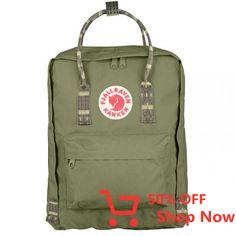 Fjallraven Kanken Green and Folk Pattern Kanken Classic Backpack - Trouva Green Backpacks, Trendy Backpacks, Men's Backpacks, Waterproof Backpack, Unisex, Shopping Bag, Purses, Canvas, Classic
