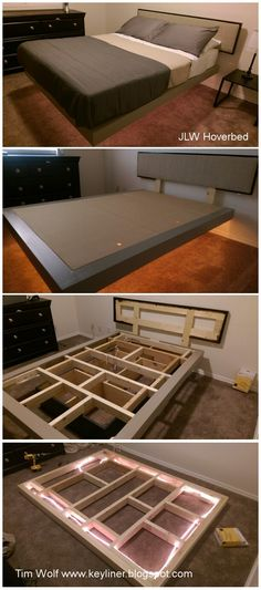 "JLW Hoverbed.  Shop made platform bed with lighted under carriage.  Made with clear pine, 2x4's, ply.  S fun project.  Made without plans, sorry.  Make the platform about 1.5"" wider than the matress, on all four dimensions"