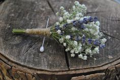This could be nice for some corsages, given all the baby's breath we'll be using: Earthy Field of Lavender Boutonniere  by YellowLemonWeddings