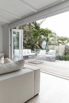 Three Birds Renovations: a white Santorini-style home made for luxury living Deck Design, House Design, Outdoor Spaces, Outdoor Living, Three Birds Renovations, Coastal Living Rooms, House Extensions, New Room, Luxury Living