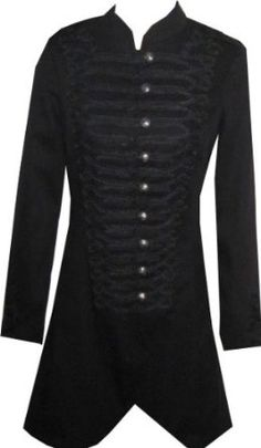 Victorian Long Black Gothic Military SteamPunk Indie Jacket Coat XL 16   Amazon.co.uk  Clothing a4443cfe2