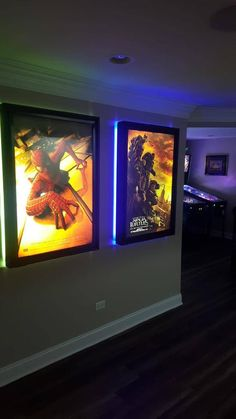 This is a large frame poster box with a colored LED halo around the back of the frames. Comes with White replaceable LED tubes inside box that back light the 27x40 poster. Comes with traditional snap frame design that makes installing posters a snap! The colored halo has a remote to control blink