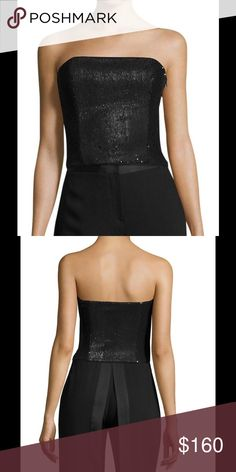 """Halston Heritage Sequin & Velvet Boob Tube Top Sequins are all the rage this season, a lot on the fashion runways. A great top for all occasions.  Fitted silhouette; Hidden side zip; Fully lined; Dry clean only.   Approximate measurements: length - 11 1/2"""" top to bottom; width at bottom - 13 1/2""""; width of underarm to underarm - 15"""". Halston Heritage Tops Crop Tops"""