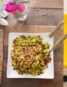 brusselsprout salad with pomegranate in a mustard vinaigrette