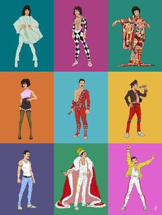 My artwork of the legendary Freddie Mercury wearing some of his vibrant and iconic costumes. My artwork of the legendary Freddie Mercury wearing some of his vibrant and iconic costumes. Rami Malek, Freedie Mercury, Queen Drawing, Queen Meme, Queens Wallpaper, Queen Photos, Queen Art, We Will Rock You, Queen Freddie Mercury