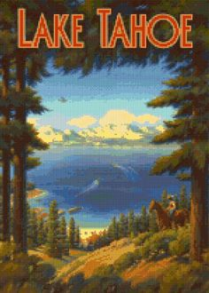 Vintage Lake Tahoe Cross Stitch pattern travel poster PDF - Instant Download! by PenumbraCharts on Etsy