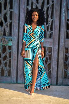 Style Pantry | Geometric Print Maxi Dress ~African Prints, African women dresses, African fashion styles, african clothing