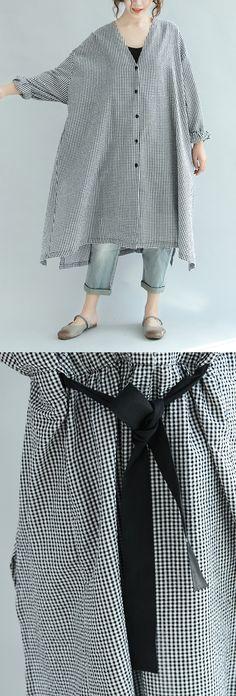 black white plaid shirt dress casual  long sleeve maxi dress
