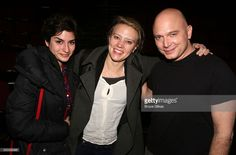 Kate McKinnon, girlfriend (L) and Michael Cerveris (R) pose backstage at the hit musical 'Fun/Home' on Broadway at The Circle in The Square Theatre on April 10, 2016 in New York City. ~=EE