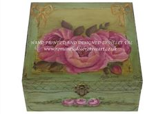 Shabby Chic Roses - Wooden box. Hand painted Available at www.romanticdecorativeart.co.uk