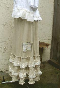 Bohemian Maxi Linen Skirt Eco Friendly Mori girls Gypsy Designed and handmade in USA