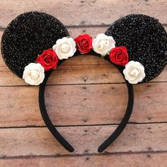 Your place to buy and sell all things handmade Mickey/ Minnie Mouse inspired Ears Floral Mickey Diy Disney Ears, Disney Mickey Ears, Minnie Mouse Party, Disney Diy, Disney Crafts, Mickey Ears Diy, Diy Headband, Ear Headbands, Disneyland Ears