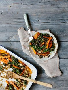 Za'atar Roasted Carrots with Kale, Freekeh and Blood Orange & Maple Dressing | The Design Files