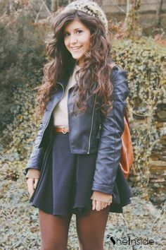 Love leather jackets- make any wholesome cutesy outfits look edgier. The hat gives it a hipster look, so I'd opt out.