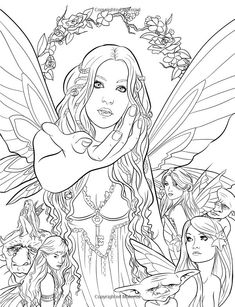 Artist Selina Fenech Fantasy Myth Mythical Mystical Legend Elf Elves Dragon Dragons Fairy Fae Wings Fairies Mermaids Mermaid Siren Sword Sorcery Magic Witch Wizard Coloring pages colouring adult detailed advanced printable Fairy Coloring Pages, Adult Coloring Book Pages, Printable Adult Coloring Pages, Colouring Pics, Coloring Pages To Print, Free Coloring Pages, Coloring Books, Kids Coloring, Colorful Drawings
