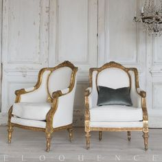 Eloquence®Pair of Vintage Bergeres: 1940 Luxury Interior, Interior Design, French Chic, Reading Nook, Parisian, Accent Chairs, Armchair, Shelves, Interiors