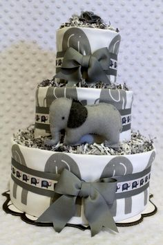 Elephant diaper cake...elephants are cute too!  Could go with gray and blue or gray and pink!