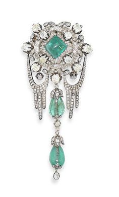 Rosamaria G Frangini | High Antique Jewellery | An emerald and diamond corsage ornament, possibly Russian,