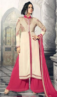 Off White Color Georgette Palazzo Suit