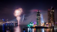 Happy New Year Rotterdam. Fireworks at the Erasmusbrug.