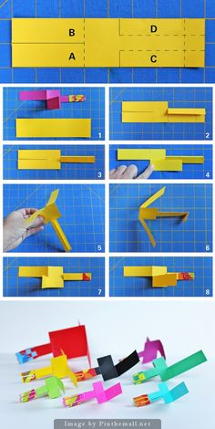 Paper Helicopter  Materials:      Construction paper or card stock -     Paper clips -     Tape -     Cutting board -     Exacto knife -      Template - Take them outside and throw them like you would throw a ball or paper airplane. They should spin like a helicopter to the ground!