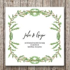 Hand-painted leaf and foliage crown wedding invitation - Woodland watercolor wedding invitation (printable version available)