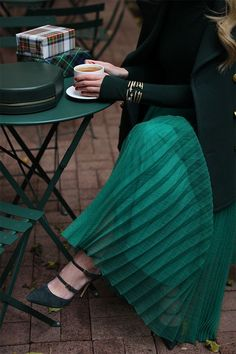 All emerald everything // Pleats and bracelet stacks on Atlantic-Pacific