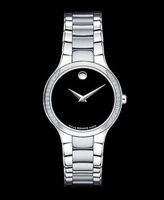 Movado Watch, Women's Swiss Serio Diamond Bezel (1/8 ct. t.w.) Stainless Steel Bracelet 36mm 0606385 - Women's Watches - Jewelry & Watches - Macy's