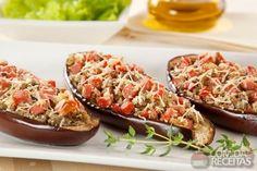 Receita de Berinjela recheada com salsicha Viena em receitas de microondas, veja essa e outras receitas aqui!