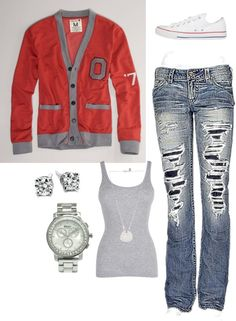 """""""OSU Football"""" I really really want this outfit."""