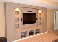 Entertainment wall ideas unit with fireplace units designs center built in plans living room home theater . best home entertainment center ideas wall unit . Tv Wall Design, Tv Unit Design, Shelving Design, Living Room Entertainment Center, Diy Entertainment Center, Entertainment Shelves, Living Room Home Theater, Home Theaters, Modern Tv Wall Units