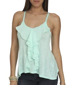 Wet Seal Women's Ruffle Front Slub Tank S Mint « Clothing Impulse