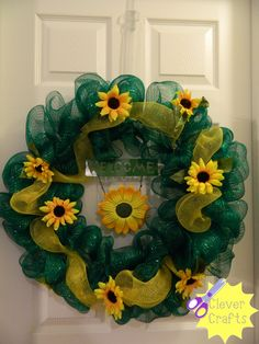 sunflower wreath. Check us out on facebook: Clever Crafts
