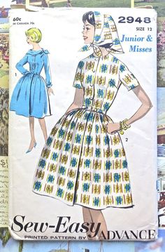 Advance 2948  Vintage 1960s Womens Dress Scarf by Fragolina
