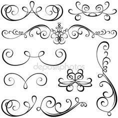 Kalligraphische elemente - schwarz design-elemente, vektor