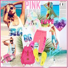 """""""Bright Young Things: PINK Spring Break Style Off!"""" by barbarela11 ❤ liked on Polyvore"""