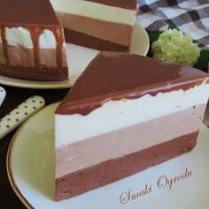 SERNIK 3 CZEKOLADY - NA ZIMNO Polish Recipes, Cheesecake, Food And Drink, Pudding, Cook, Cakes, Birthday, Pies, Birthdays