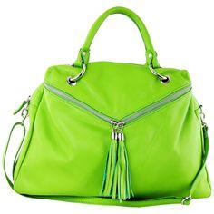Elena Andrea Green Leather Tassel Hobo Bag