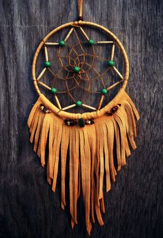Dream Catcher with Leather Fringe - Could use leather scraps in different colors and different lengths of fringe.